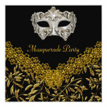 Masquerade Gold Black Hot Glamour Birthday Party Custom Invite