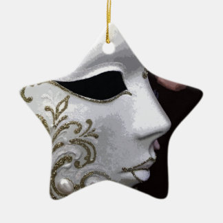 MASQUERADE (GOLD) CERAMIC STAR DECORATION