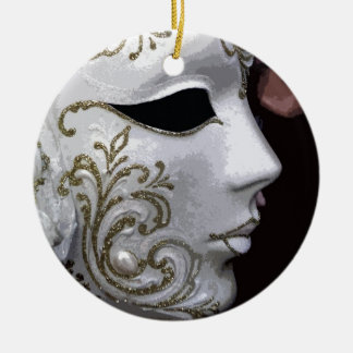 MASQUERADE (GOLD) ROUND CERAMIC DECORATION