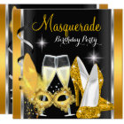 Masquerade Hi Heels Gold Black Champagne Party 2d Card