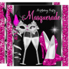 Masquerade Hi Heels Pink Black Champagne Party 2c Card