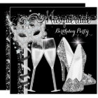 Masquerade Hi Heels Silver Black Champagne Party 2 Card