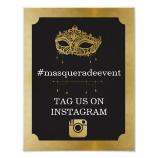 Masquerade Instagram Sign Photo Insta Event Party Poster