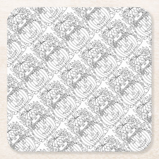Masquerade Jack O Lantern Square Paper Coaster