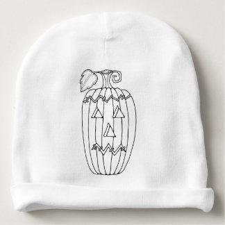 Masquerade Jack O Lantern Two Line Art Design Baby Beanie