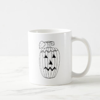Masquerade Jack O Lantern Two Line Art Design Coffee Mug