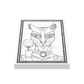 Masquerade Kitty Mouse Lollipop Line Art Design Canvas Print