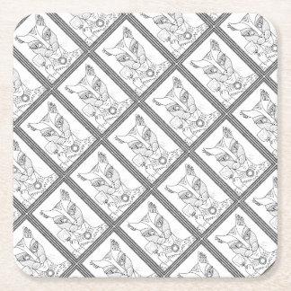 Masquerade Kitty Mouse Lollipop Line Art Design.pd Square Paper Coaster