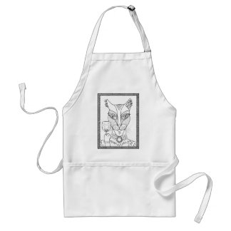 Masquerade Kitty Mouse Lollipop Line Art Design.pd Standard Apron