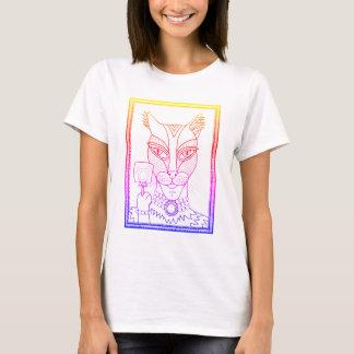 Masquerade Kitty Mouse Lollipop Line Art Design T-Shirt
