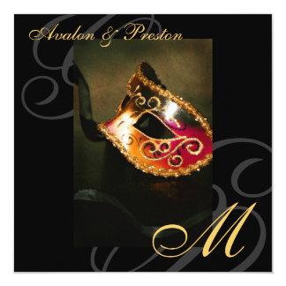 Masquerade Mask Gold Swirl Wedding Invitation