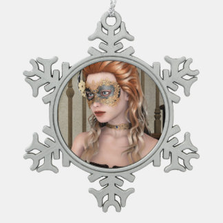 Masquerade Mask Pewter Snowflake Decoration