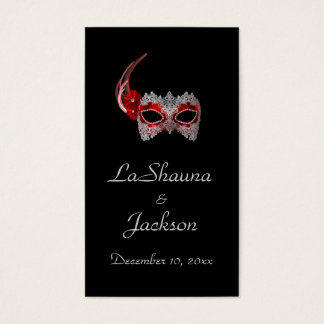 """""""Masquerade Mask"""" - Red w/ Lace Business Card"""