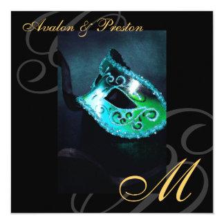 Masquerade Mask Teal Swirl Wedding Invitation