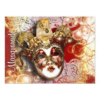 "Masquerade mask venetian mardi gras party 6.5"" x 8.75"" invitation card"