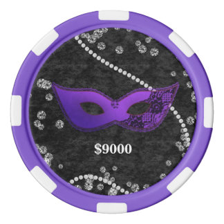 Masquerade Mask Violet Indigo Gems Poker Chip