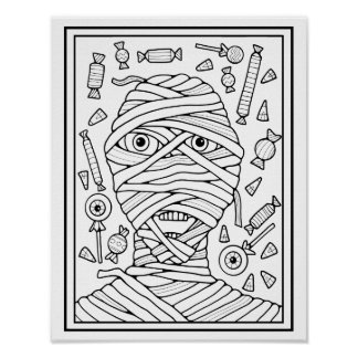 Masquerade Mummy Cardstock Adult Coloring Page Poster