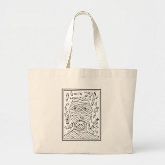Masquerade Mummy Line Art Design Large Tote Bag