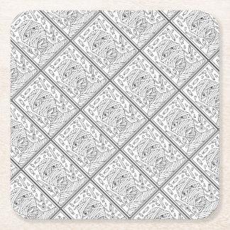 Masquerade Mummy Line Art Design Square Paper Coaster