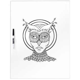 Masquerade Owl Adult Coloring Dry Erase Board