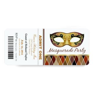 Masquerade Party Admit One Ticket | bronze Card