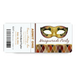 Masquerade Party Admit One Ticket | bronze Custom Invitations