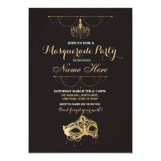 Masquerade Party Birthday Gold Mask Invite