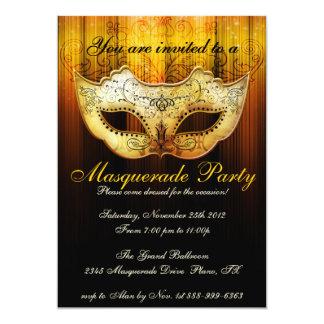 Masquerade Party Celebration Fancy Gold Invitation