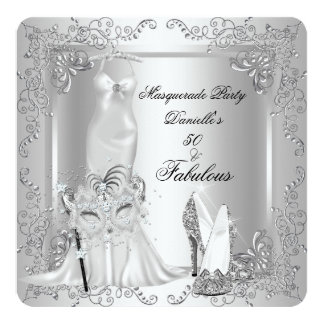 Masquerade Party Fabulous 50 Birthday Silver 2 13 Cm X 13 Cm Square Invitation Card
