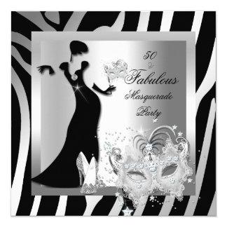 Masquerade Party Fabulous 50 Zebra Silver 13 Cm X 13 Cm Square Invitation Card