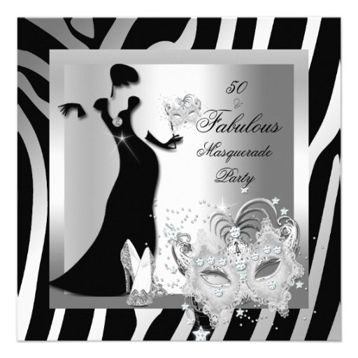 Masquerade Party Fabulous 50 Zebra Silver Custom Invites