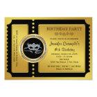 Masquerade Party Golden Ticket Birthday Party Card