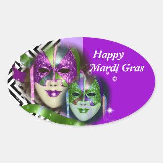 Masquerade party mardi gras mask oval sticker