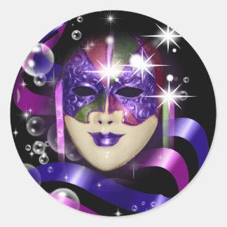Masquerade party mardi gras mask round stickers