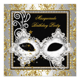 Masquerade Party Silver Gold Damask Black Mask Card