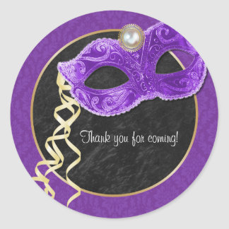 Masquerade Party Thank You Sticker - purple