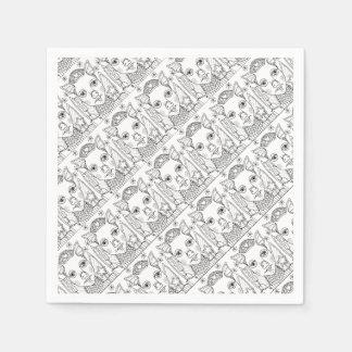 Masquerade Pig Line Art Design Paper Napkin
