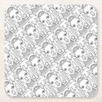 Masquerade Pig Line Art Design Square Paper Coaster