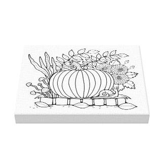 Masquerade Pumpkin Scene Line Art Design Canvas Print