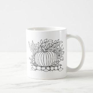 Masquerade Pumpkin Scene Line Art Design Coffee Mug