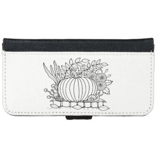 Masquerade Pumpkin Scene Line Art Design iPhone 6 Wallet Case