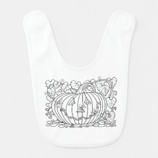 Masquerade Pumpkin Spiders Line Art Design Bib