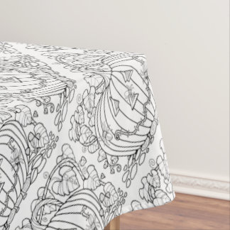 Masquerade Pumpkin Spiders Line Art Design Tablecloth
