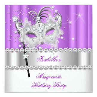 Masquerade Purple Diamond Mask Birthday Party 2 13 Cm X 13 Cm Square Invitation Card