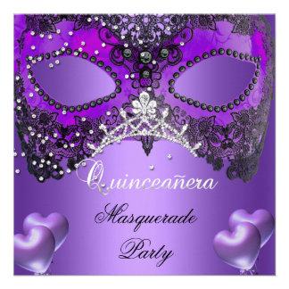 Masquerade Quinceanera 15 Purple Birthday Invites