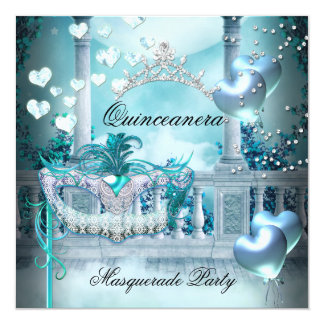 Masquerade Quinceanera 15 Teal Birthday Party Card
