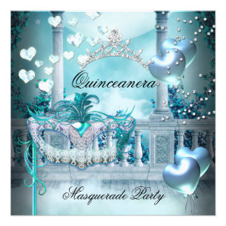 Masquerade Quinceanera 15 Teal Birthday Party Invitations