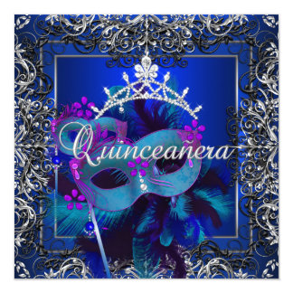 Masquerade Quinceanera 15th Birthday Party Blue Card