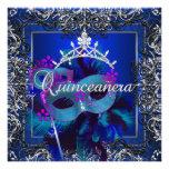 Masquerade Quinceanera 15th Birthday Party Blue Invite