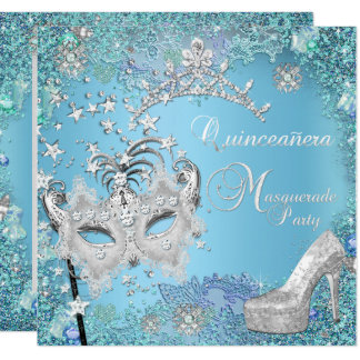 Masquerade Quinceanera 15th Party Blue Tiara Shoe Card